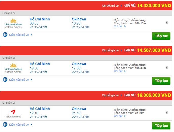 Giá vé máy bay TPHCM đi Okinawa, Mỹ mới nhất