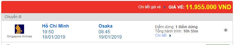 Vé máy bay đi Osaka, Nhật Bản hãng Singapore Airlines