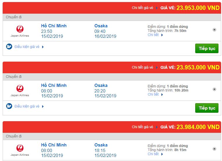 Giá vé máy bay Việt Nam đi Osaka Japan Airlines