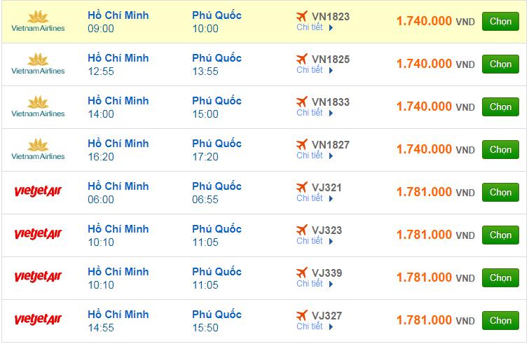 Chi tiết giá vé đi Phú Quốc hãng Vietnam Airlines, Vietjet Air, Jetstar tháng 07