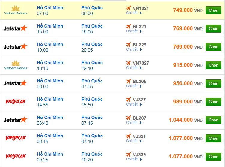 Chi tiết giá vé đi Phú Quốc hãng Vietnam Airlines, Vietjet Air, Jetstar tháng 12