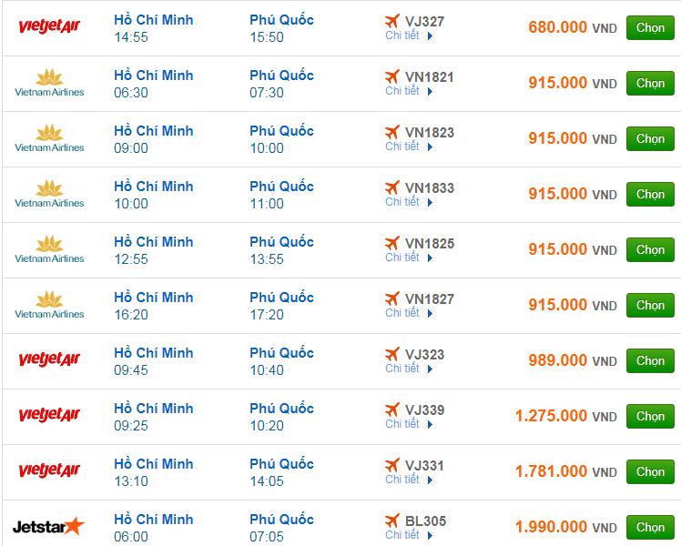 Chi tiết giá vé đi Phú Quốc hãng Vietnam Airlines, Vietjet Air, Jetstar tháng 02
