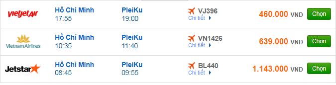 Giá vé máy bay TPHCM đi Pleiku