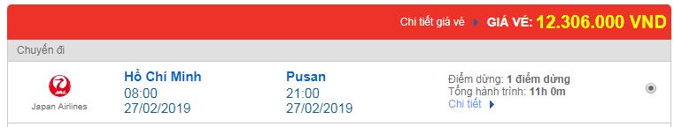 Giá vé máy bay Việt Nam đi Busan được hãng Japan Airlines