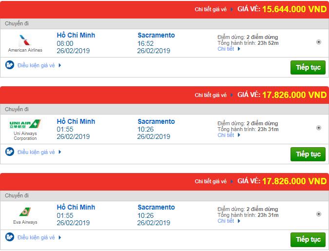 Giá vé máy bay từ TP.HCM đi Sacramento, Mỹ mới nhất
