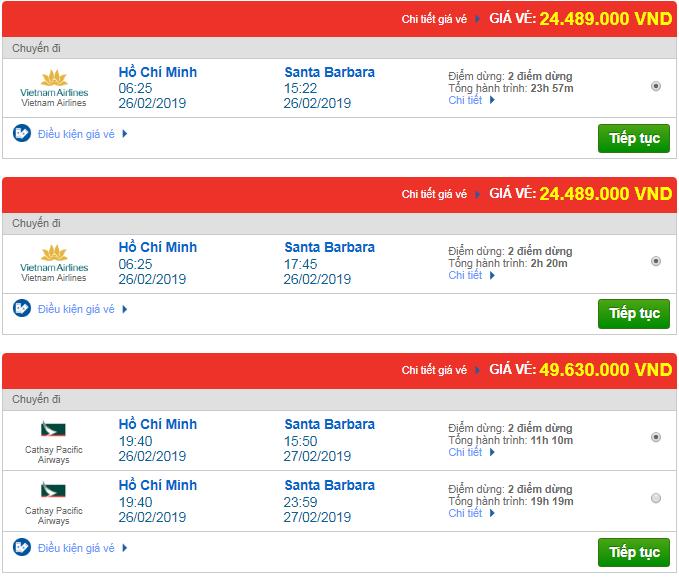 Giá vé máy bay Tp.HCM đi Santa Barbara, Mỹ mới nhất