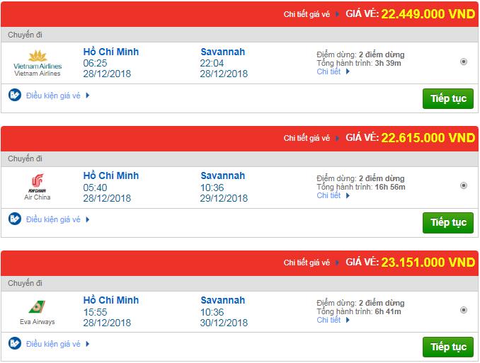 Giá vé máy bay TPHCM đi Savannah, Mỹ mới nhất
