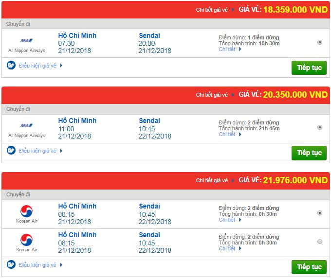 giá vé máy bay đi Sendai mới nhất của các hãng hàng không quốc tế khác