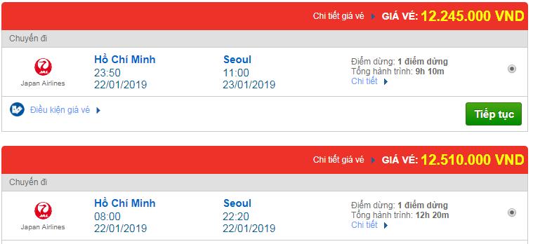 giá vé máy bay đi Seoul Japan Airlines