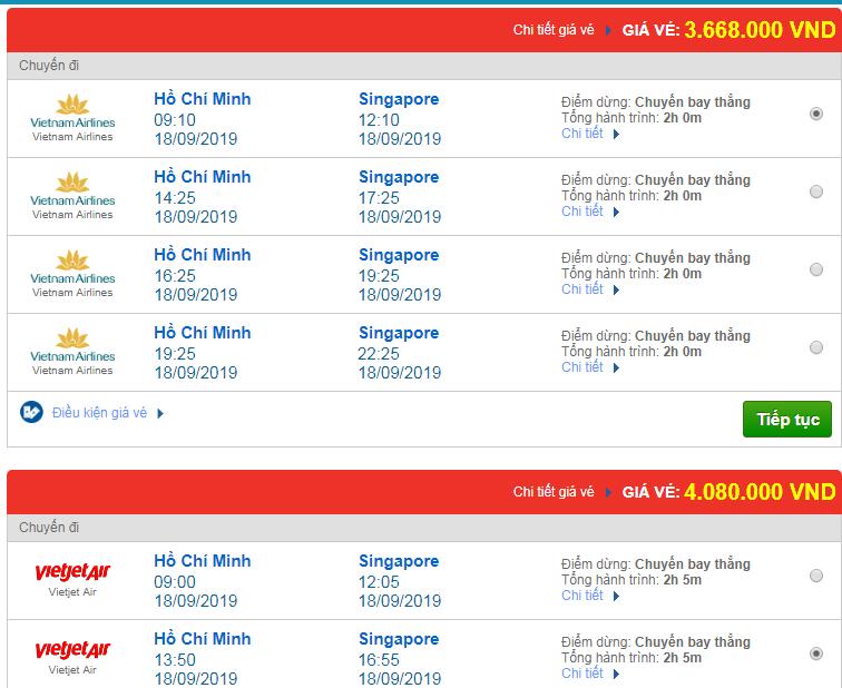 Chi tiết giá vé đi Singapore hãng Vietnam Airlines, Vietjet Air, Jetstar tháng 09