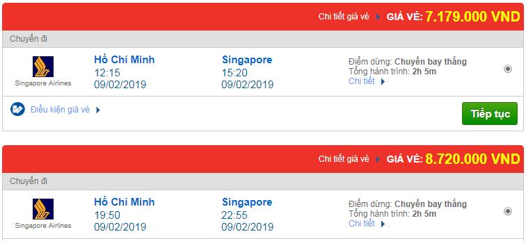 Giá Vé máy bay đi Singapore hãng Singapore Airlines