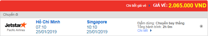 Vé máy bay Jetstar đi Singapore