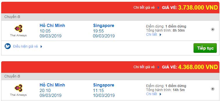 Vé máy bay đi Singapore hãng Thai Airways
