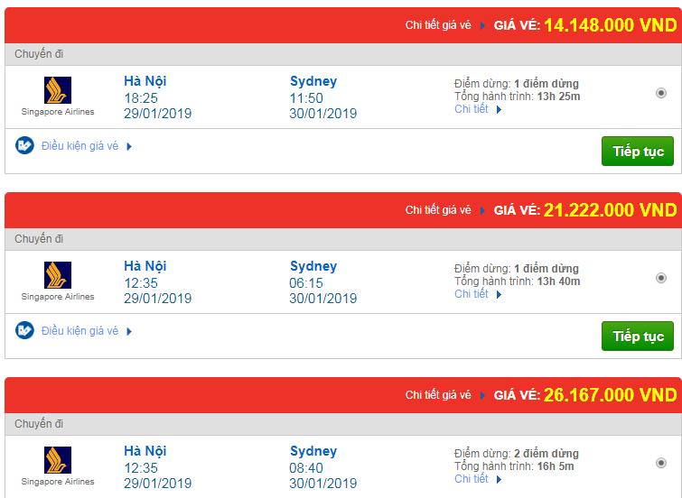Vé máy bay đi Sydney, Úc hãng Singapore Airlines
