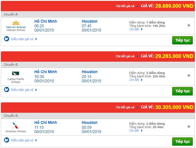 Giá vé máy bay từ TP.HCM đi Texas, Mỹ mới nhất