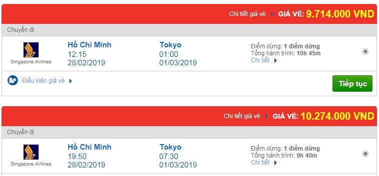 Vé máy bay đi Tokyo, Nhật Bản hãng Singapore Airlines