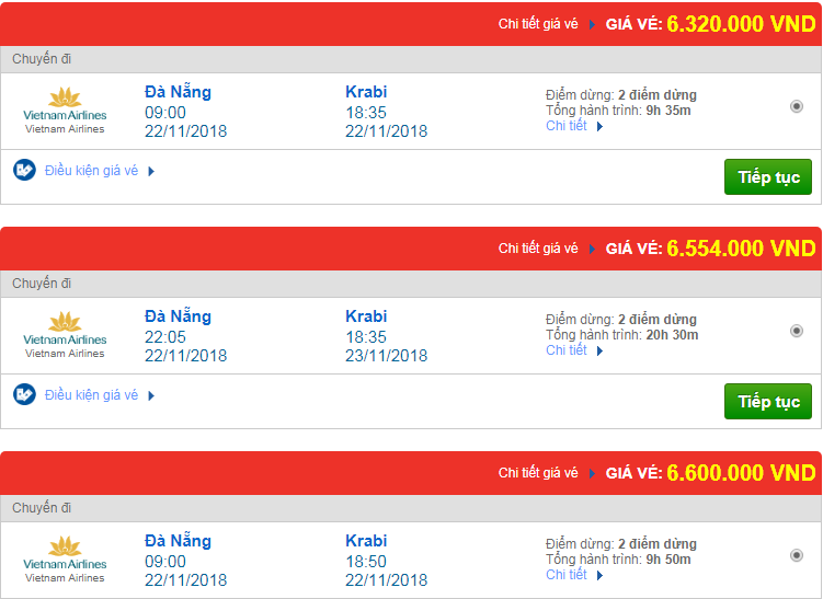 Chi tiết giá vé đi Thái Lan 3 Vietnam Airlines, Vietjet Air, Jetstar tháng 11