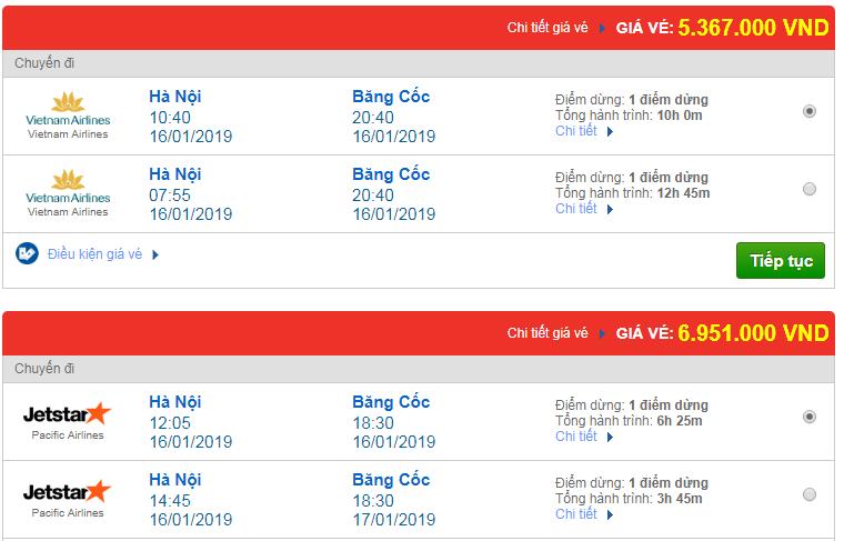 Chi tiết giá vé đi Thái Lan 3 Vietnam Airlines, Vietjet Air, Jetstar tháng 01