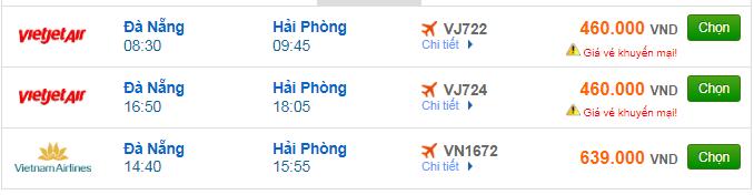 giá vé máy bay Đà Nẵng đi Hải Phòng mới nhất