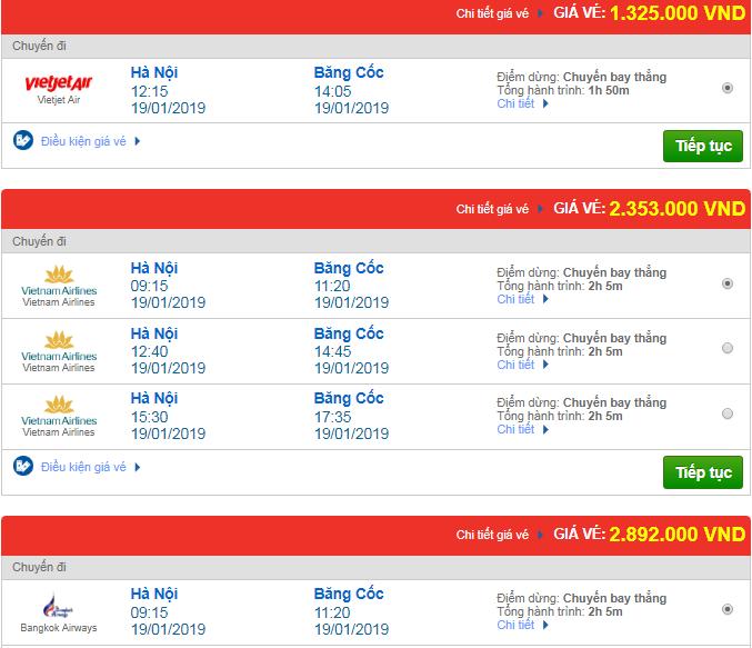 Giá vé máy bay đi Thái Lan bao nhiêu?