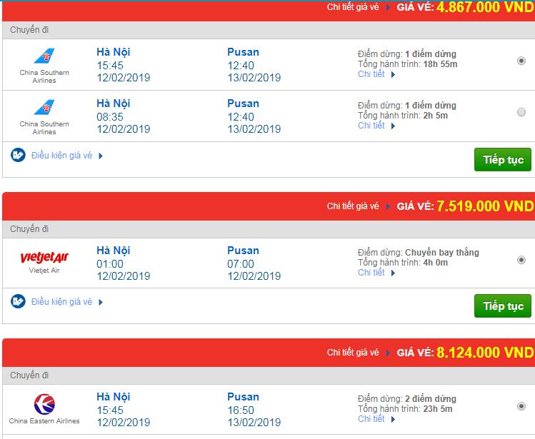 Giá vé máy bay đi Pusan, Hàn Quốc bao nhiêu?