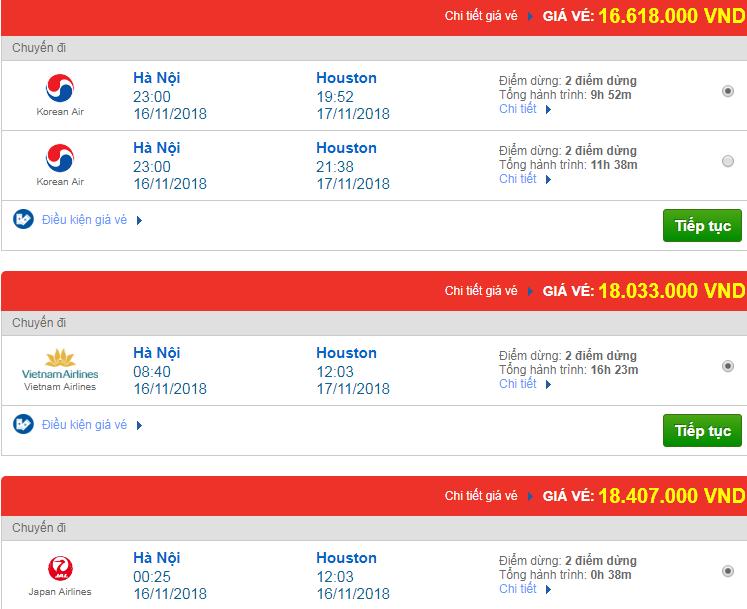 Giá vé máy bay đi Houston, Mỹ bao nhiêu?