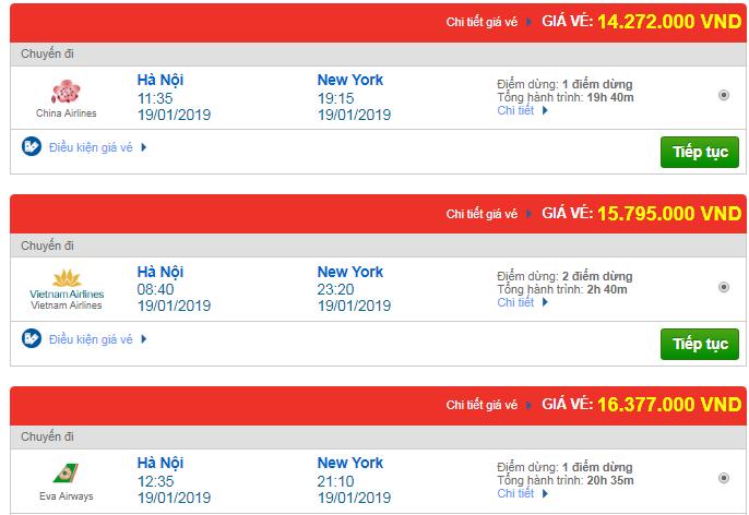 Giá vé máy bay đi Newyork, Mỹ bao nhiêu?
