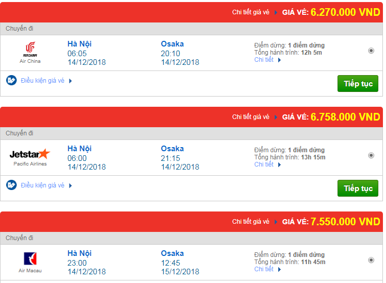 Giá vé máy bay đi Osaka, Nhật Bản bao nhiêu?