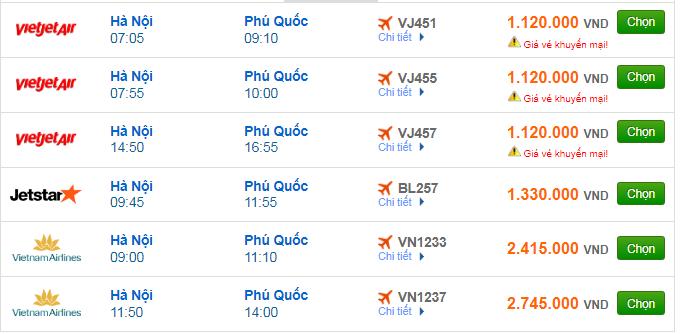 Giá vé máy bay đi Phú Quốc bao nhiêu?
