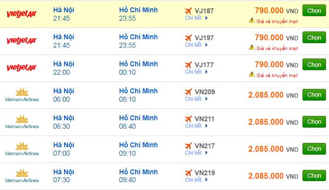 Giá vé máy bay đi TPHCM (Sài Gòn) bao nhiêu?