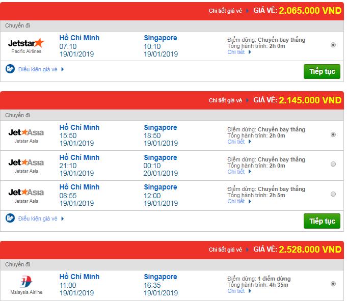 Giá vé máy bay đi Singapore bao nhiêu?