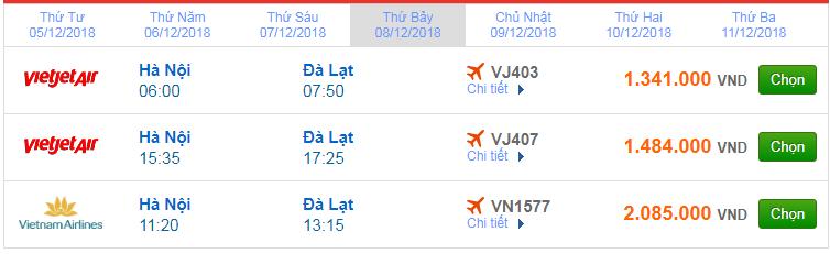 Giá vé máy bay Hà Nội đi Đà Lạt mới nhất