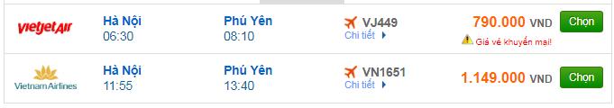 Giá vé máy bay Hà Nội đi Tuy Hòa