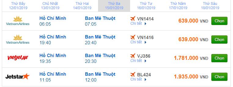 giá vé máy bay sài gòn đi Buôn Ma Thuột