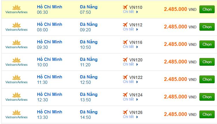 Vé máy bay đi Đà Nẵng của hãng Vietnam Airlines
