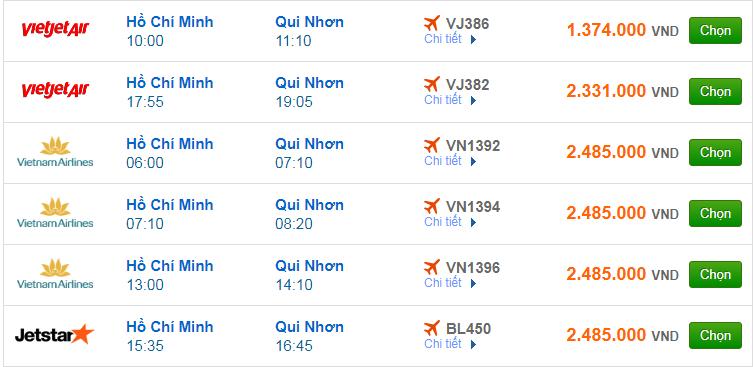 Vé máy bay Sài Gòn đi Quy Nhơn