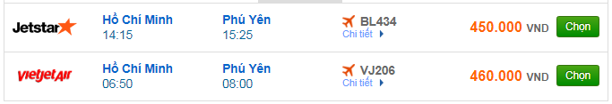 giá vé máy bay TPHCM đi Tuy Hòa