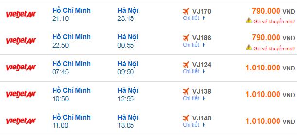 giá vé máy bay TPHCM đi Hà Nội mới nhất